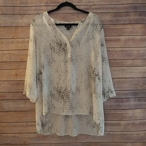 ANA semi-sheer white speckled blouse
